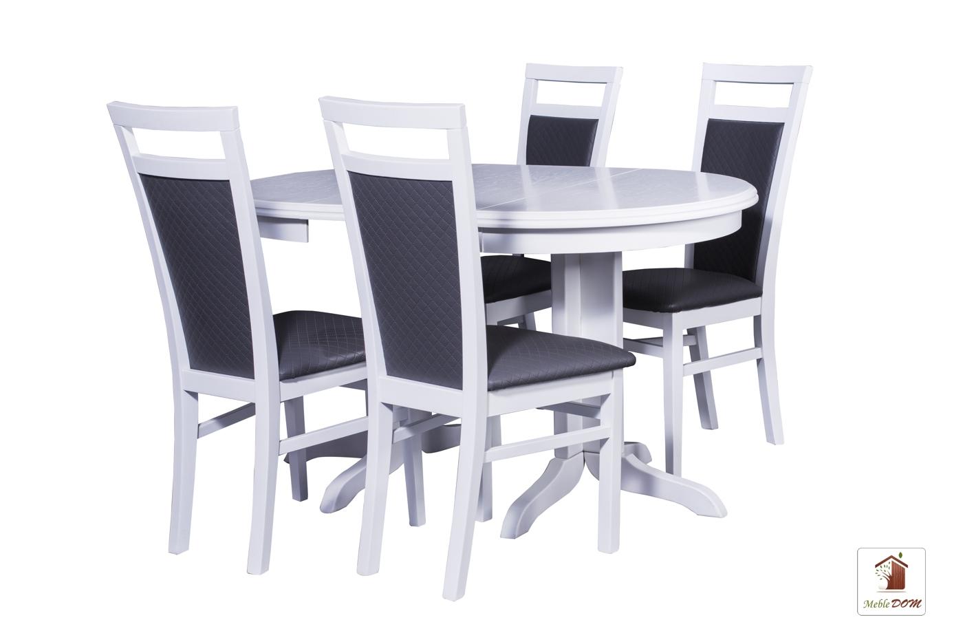 Okrągły stół rozkładany Rocabilly z krzesłami Paloma