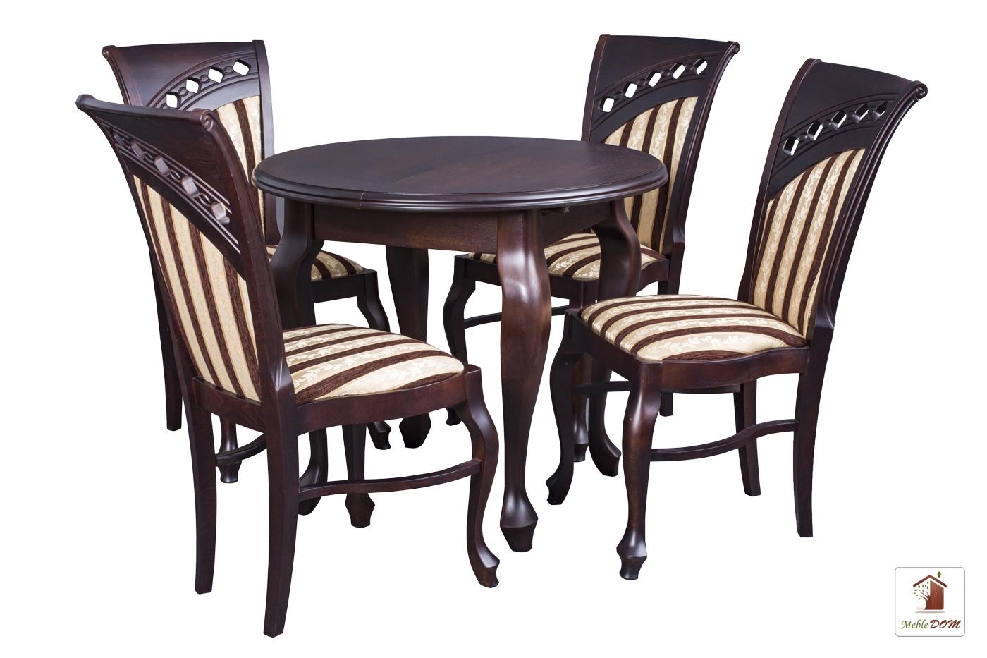 Okrągły stół rozkładany Chippendale z krzesłami Bora Karo