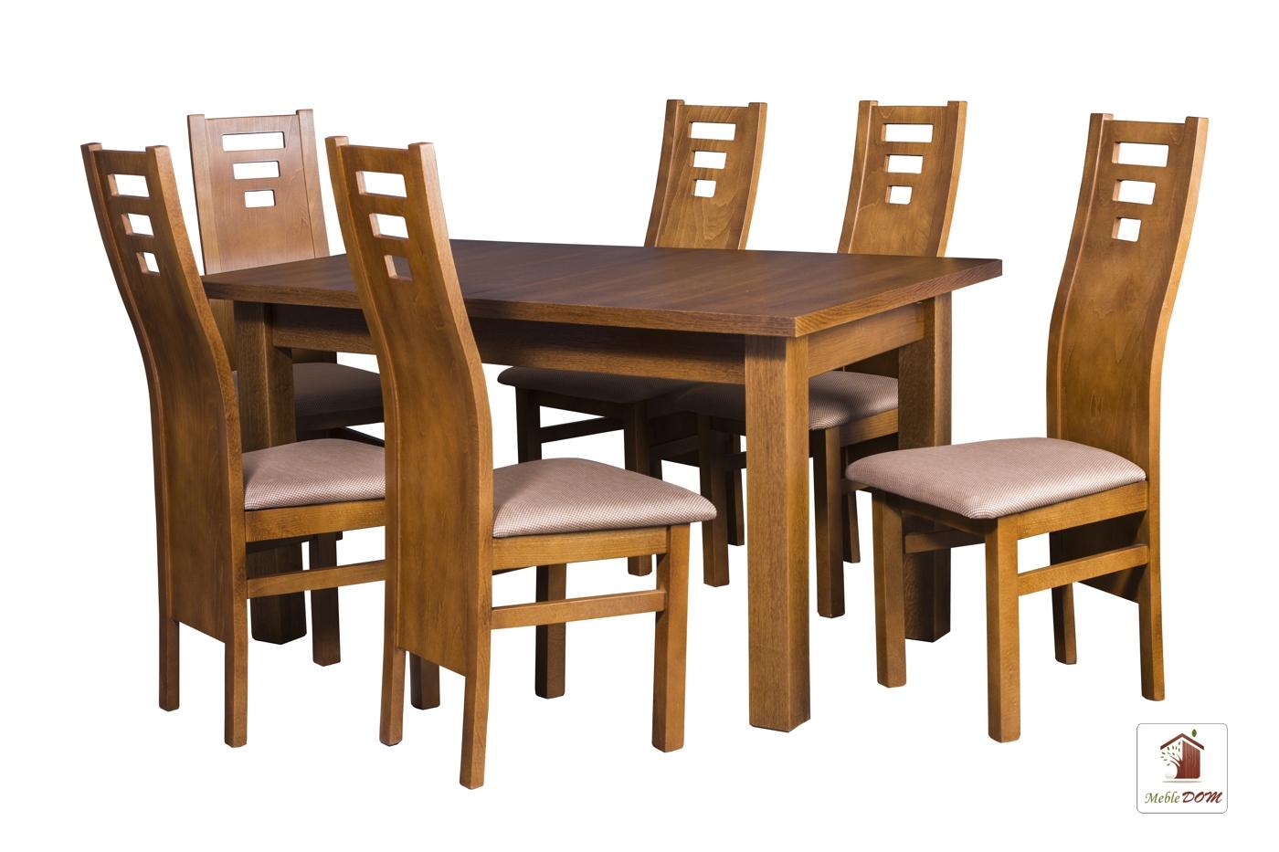 Prostokątny stół rozkładany Natur z krzesłami Design1 II