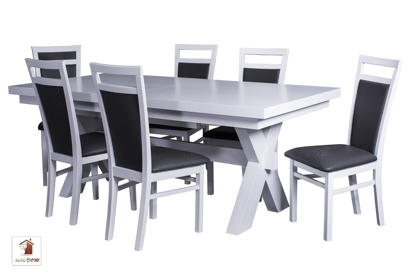 Prostokątny stół rozkładany Malmo z krzesłami Paloma