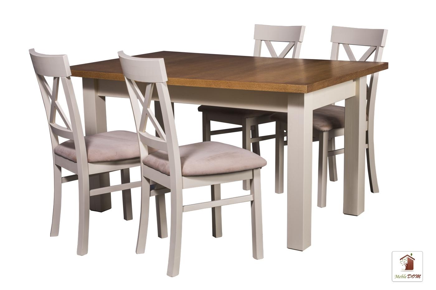 Prostokątny stół rozkładany Natur z krzesłami Nord One