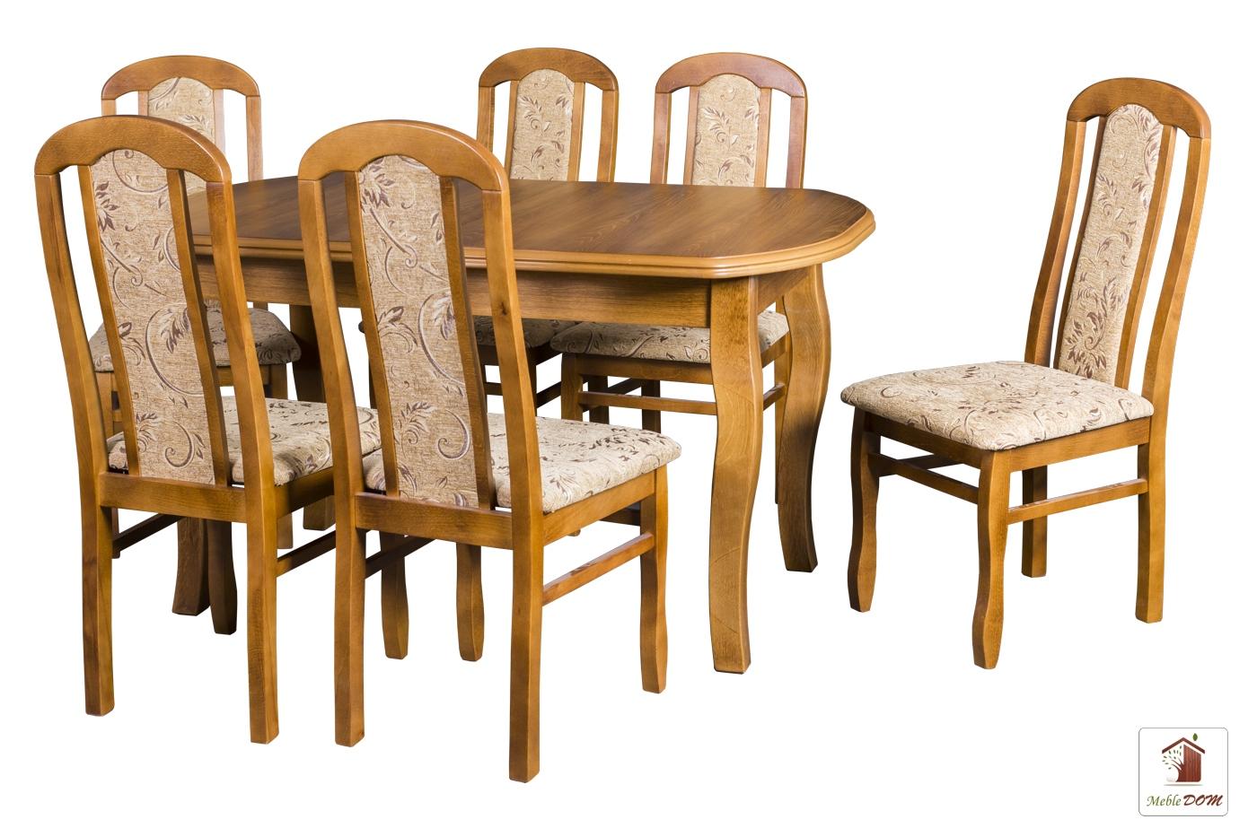 Prostokątny stół rozkładany Swan Elegant z krzesłami Cezary