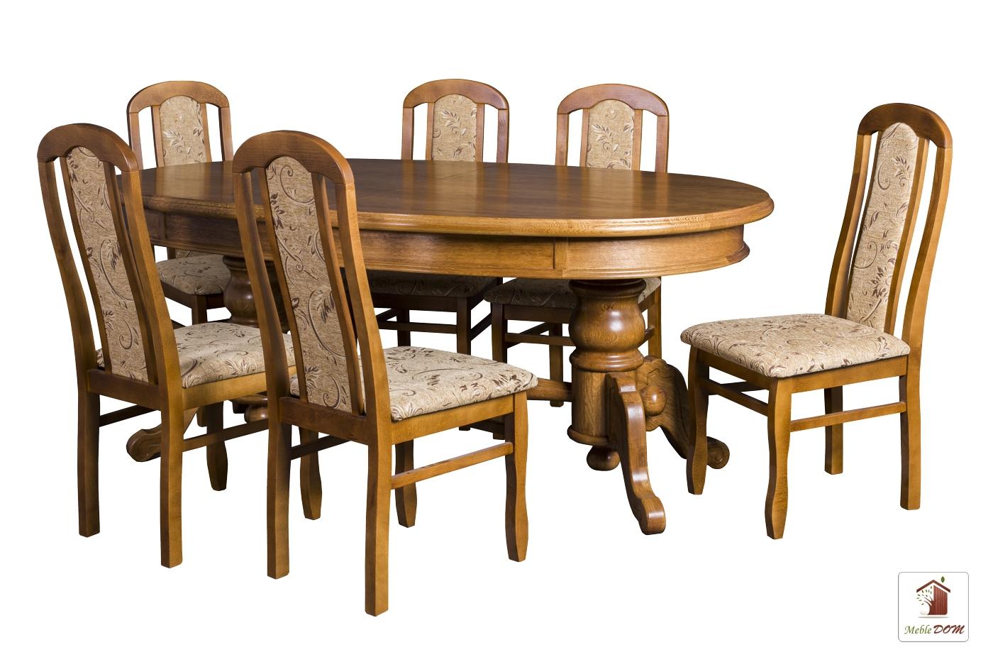 Owalny stół rozkładany Biedermeier z krzesłami Cezary