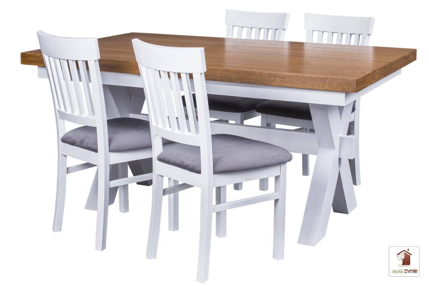 Prostokątny stół rozkładany Malmo z krzesłami Milano