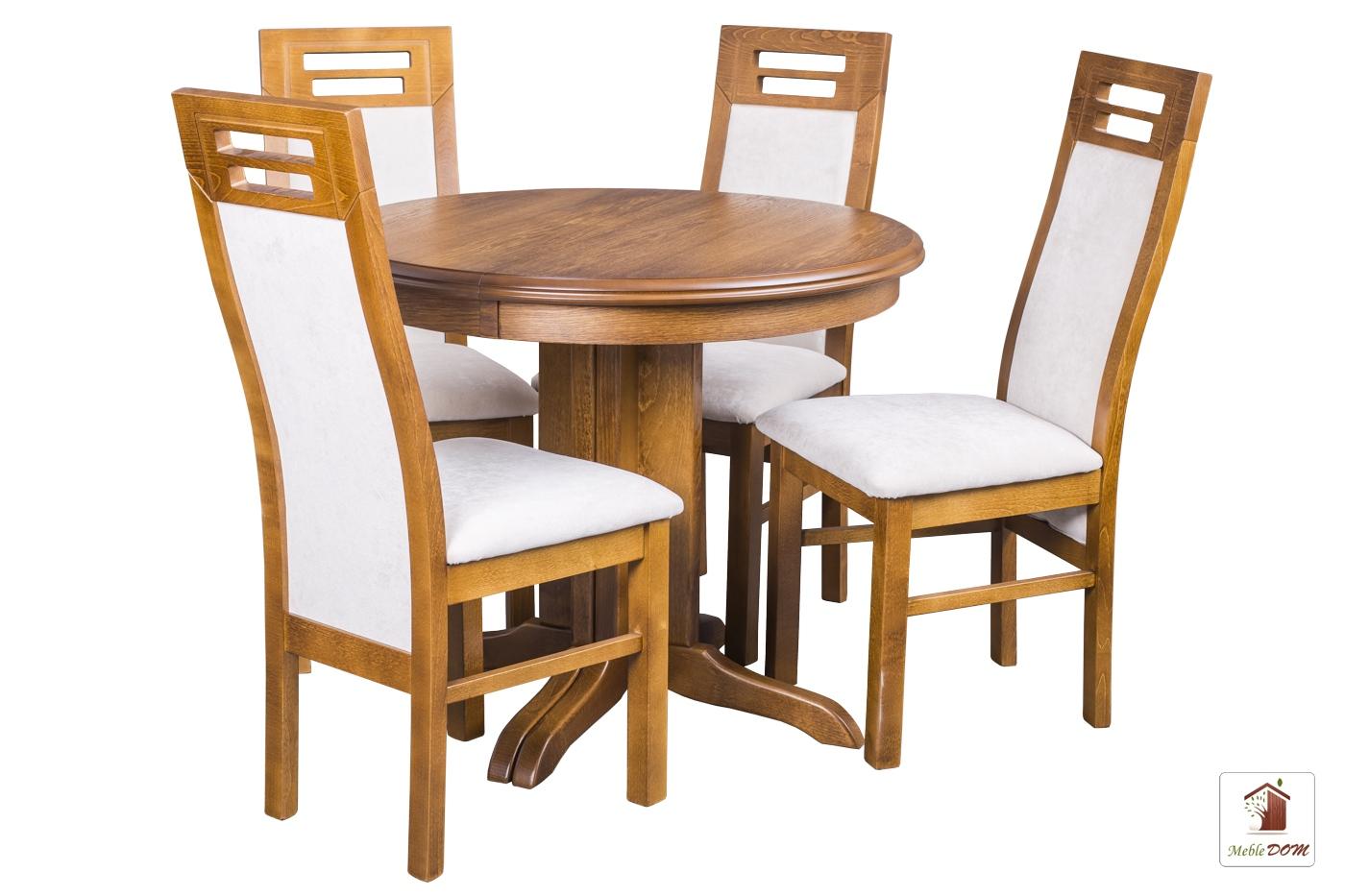 Okrągły stół rozkładany Rocabilly z krzesłami Rotterdam