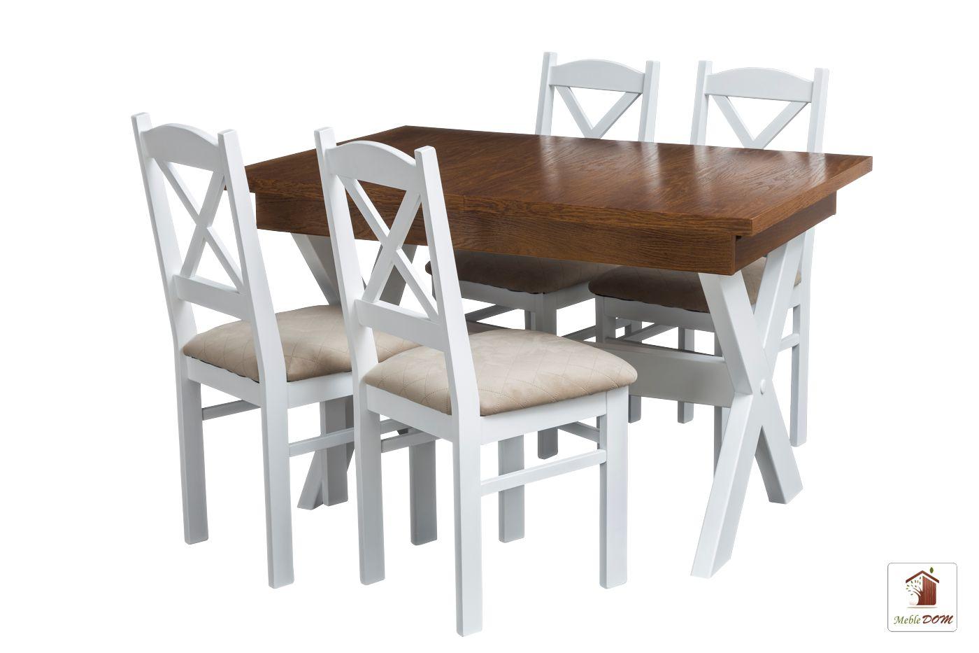Prostokątny stół rozkładany Malmo 120 lub 140 z krzesłami Nord Mini