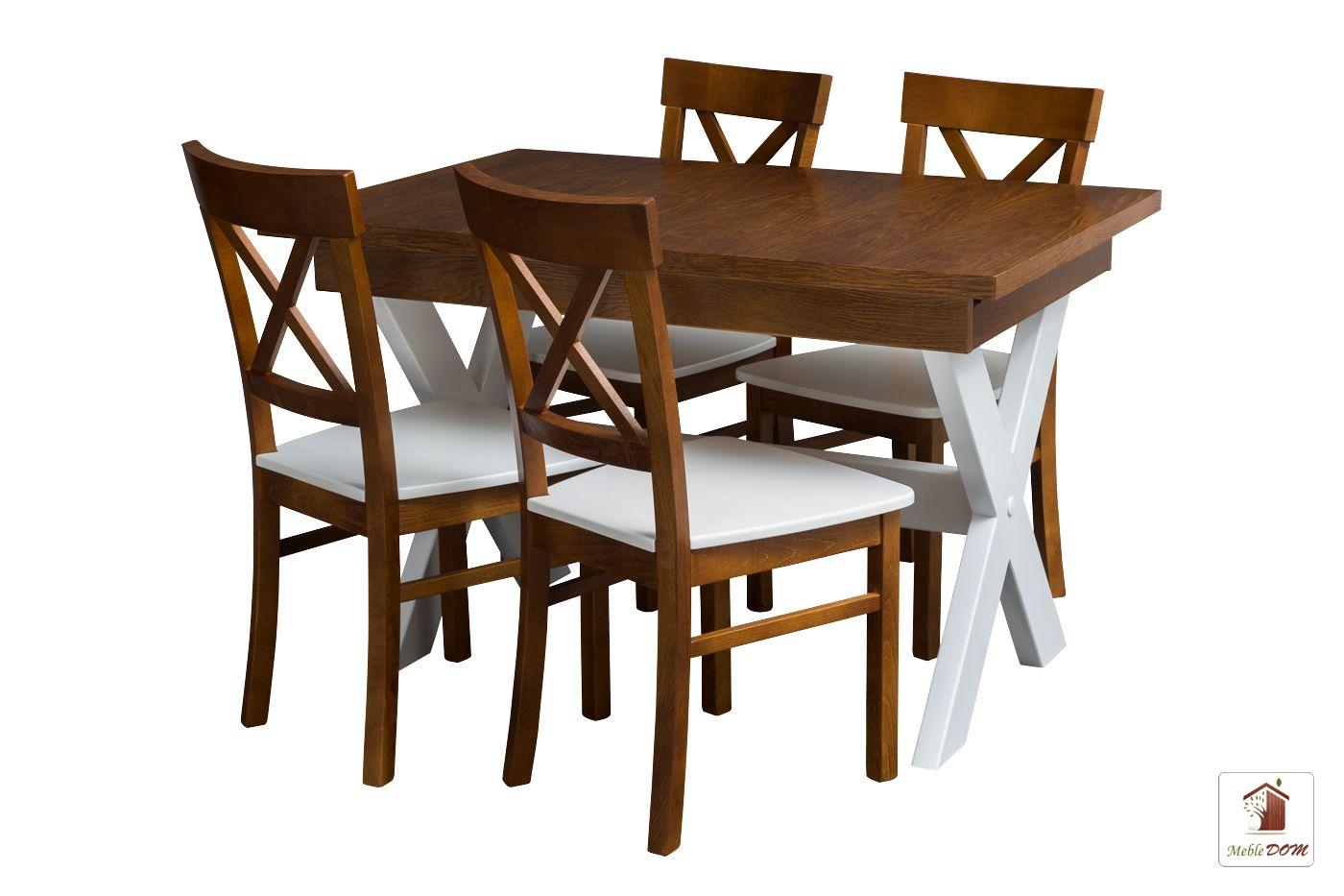 Prostokątny stół rozkładany Malmo 120 lub 140 z krzesłami Nord