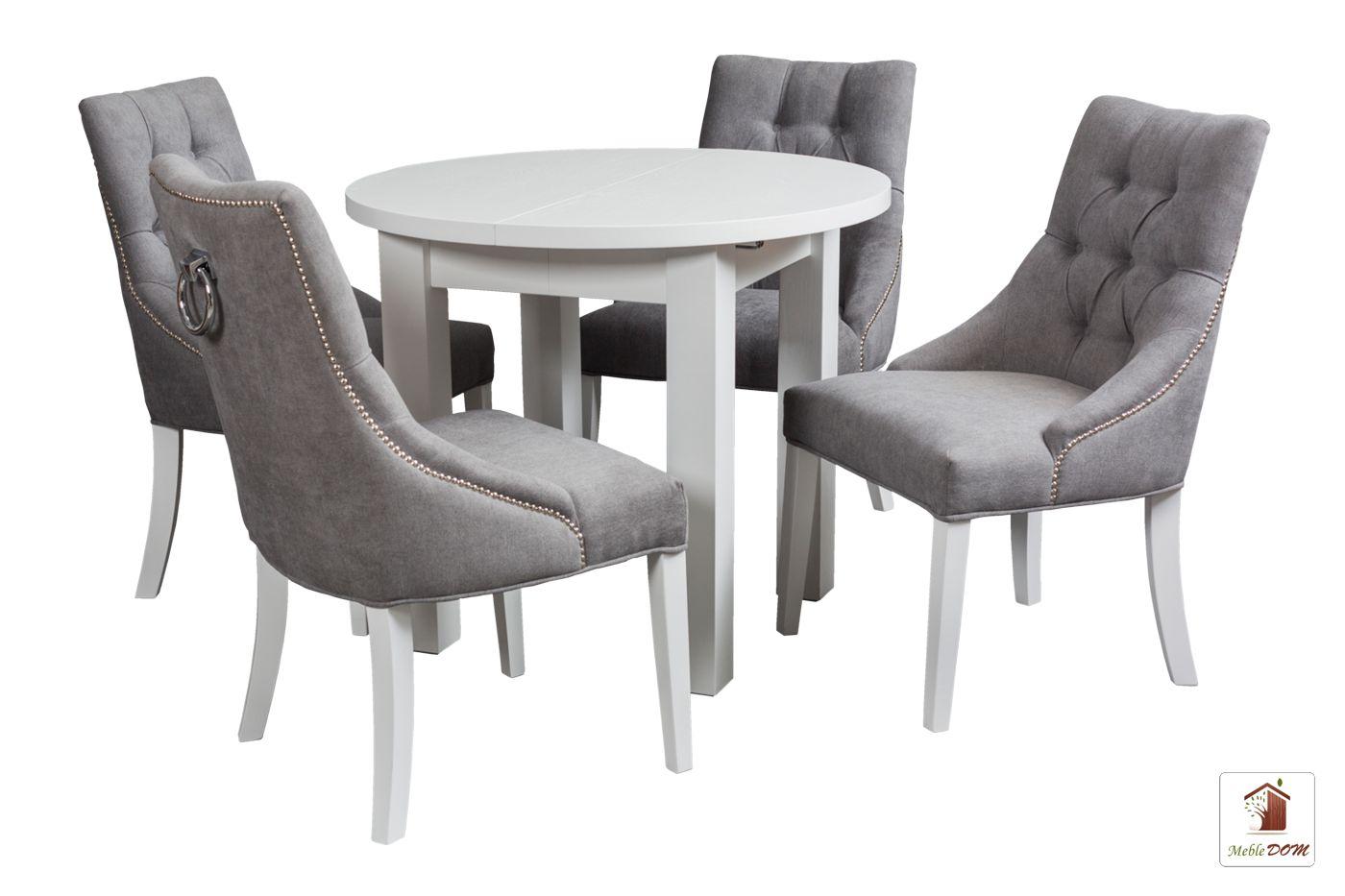 Okrągły stół rozkładany Porto z krzesłami Diana