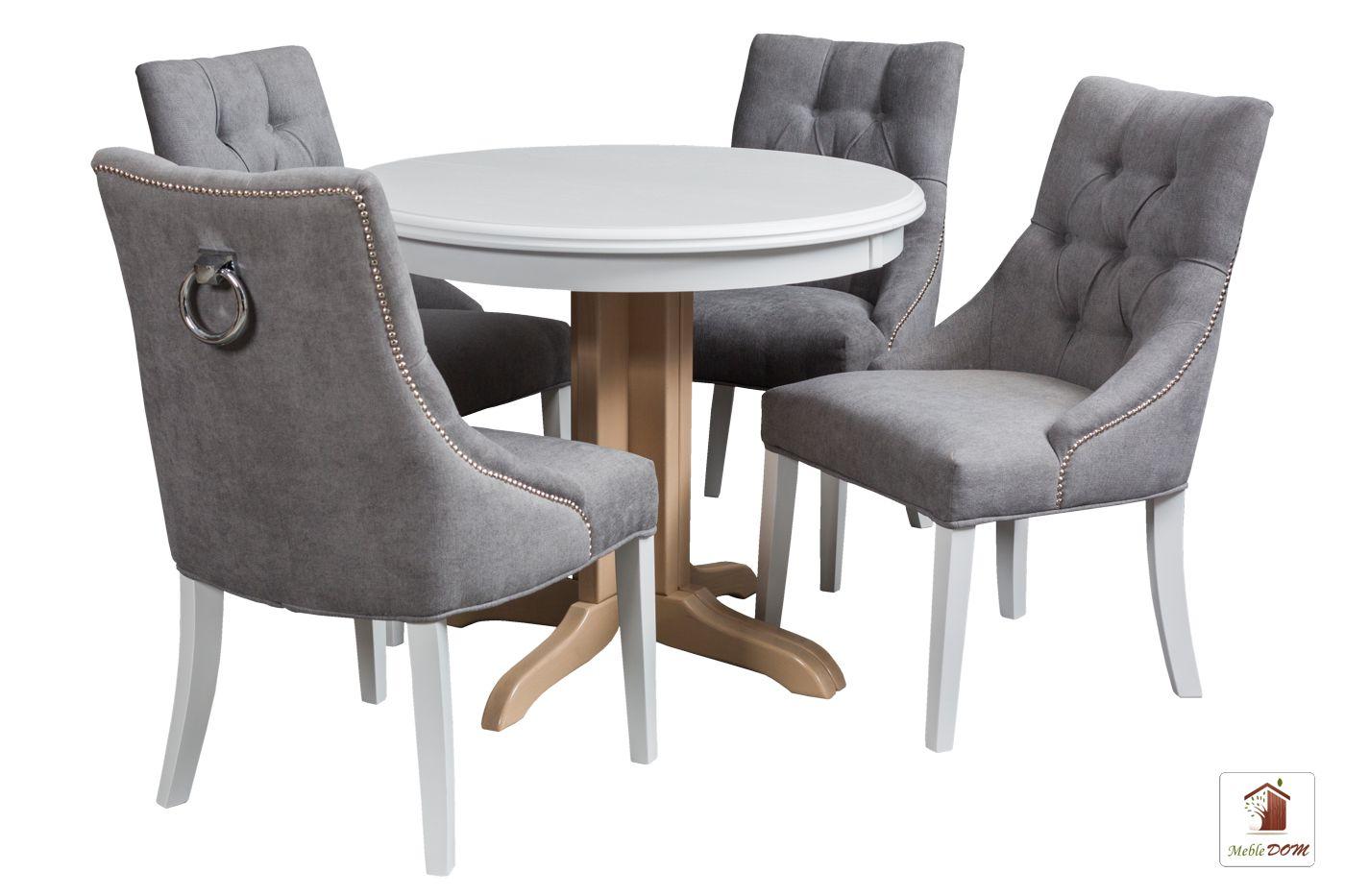 Okrągły stół rozkładany Rocabilly z krzesłami Diana