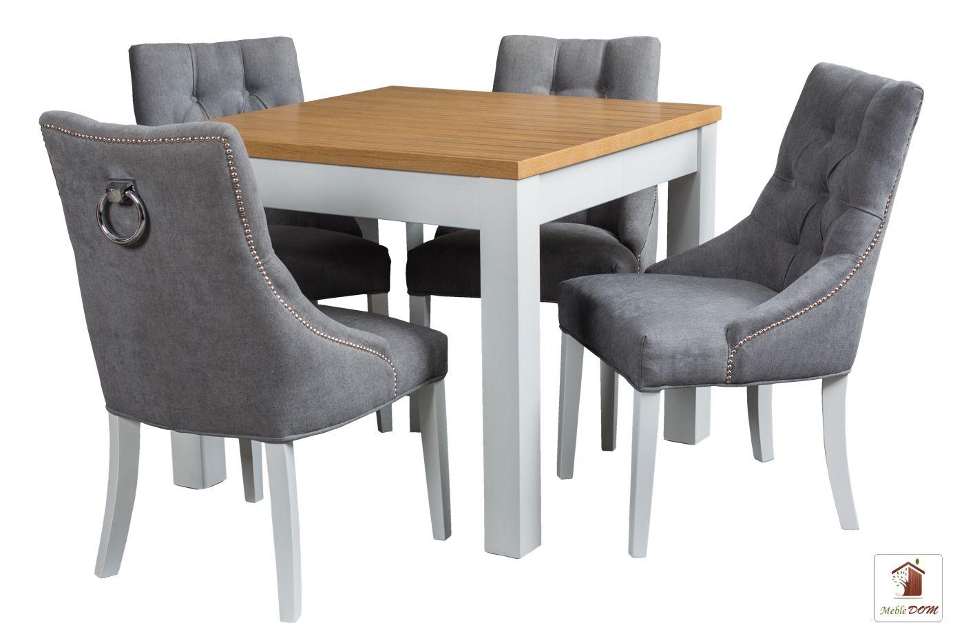 Kwadratowy stół rozkładany Strong Square z krzesłami Diana