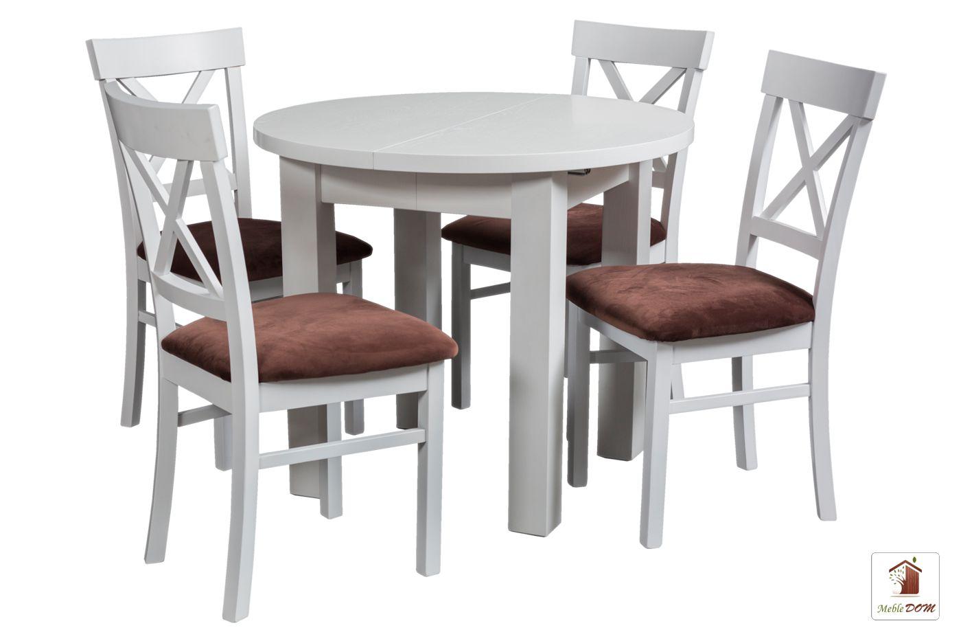 Okrągły stół rozkładany Porto z krzesłami NORD