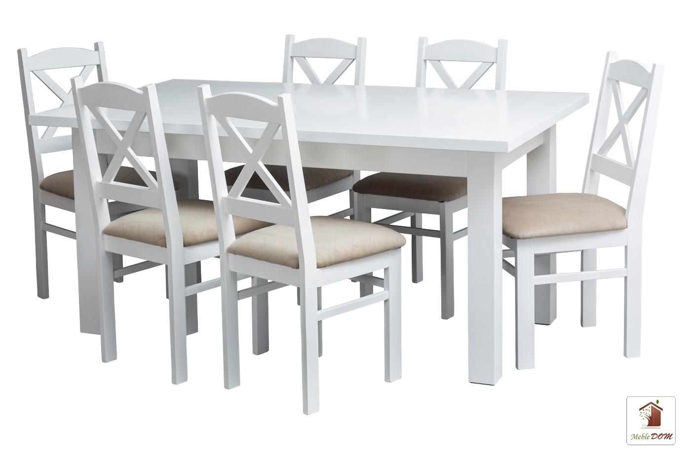 Prostokątny stół rozkładany Natur 120-200 cm z krzesłami Nord Mini